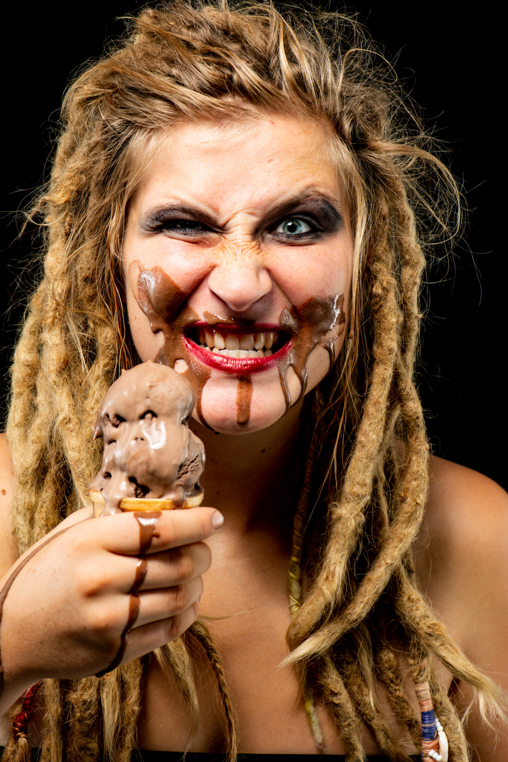 Woman with a melting ice creammaking someone comfortable