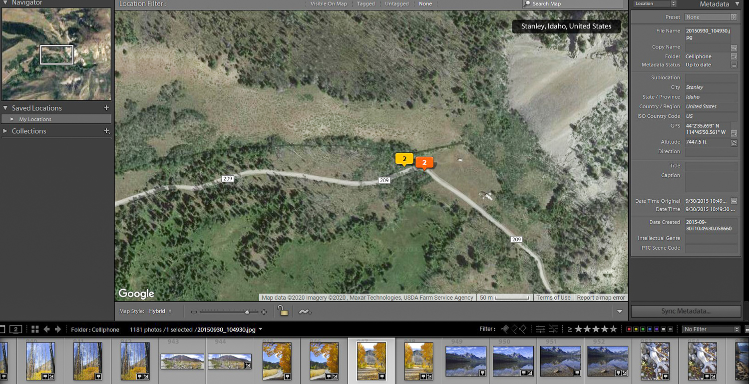 Use GPS data from the EXIF file to relocate the spot