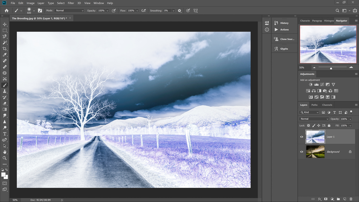 Inverted layer for Infrared photography in Photoshop