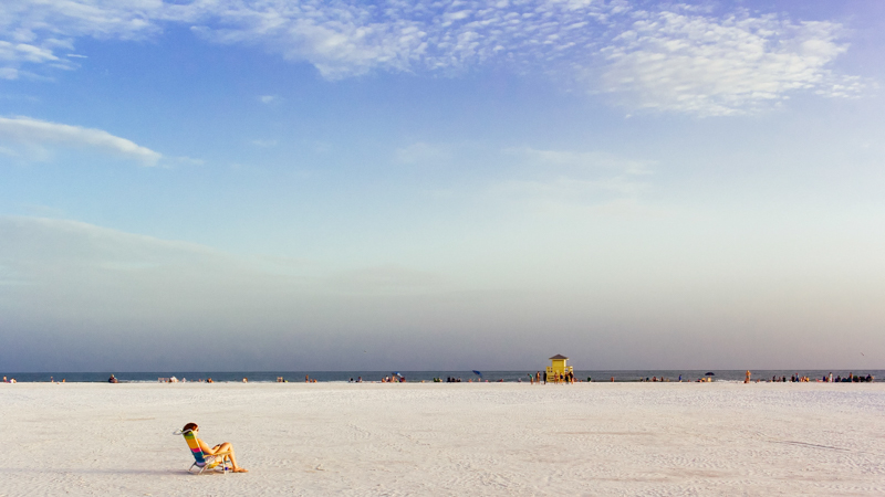 Aspect ratio in photography - beach scene in 16:9 format.