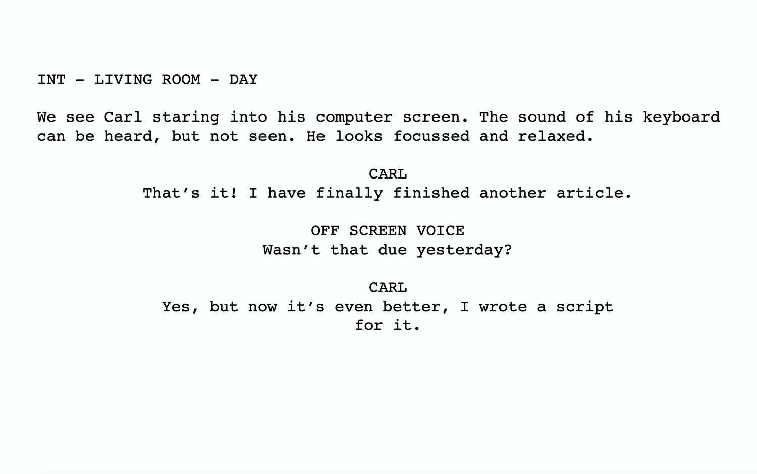 A short film script excerpt on a white background