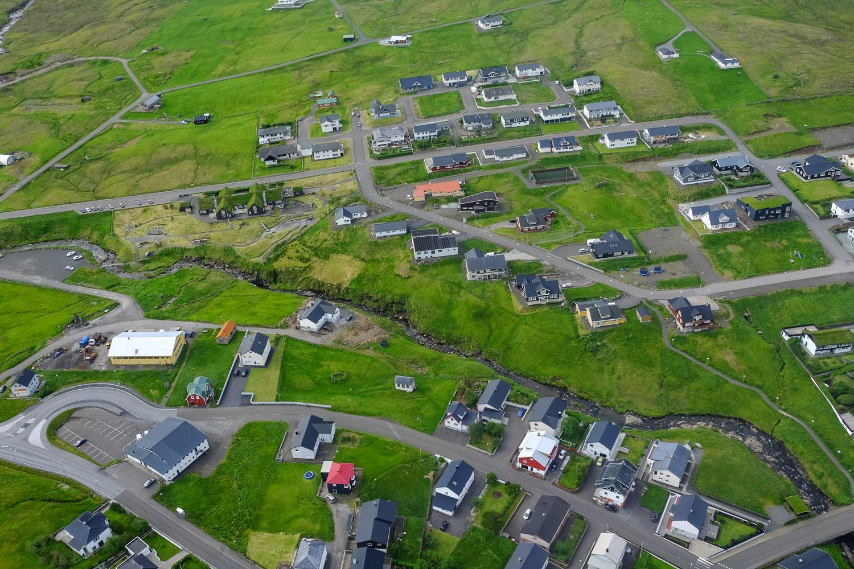 A village in the Faroe Islands taken from a helicopter.