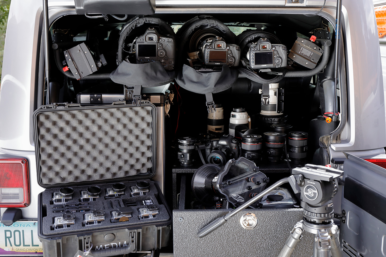 The photography gear that Bruce Dorn has in the back of his car. Who wouldn't want that?