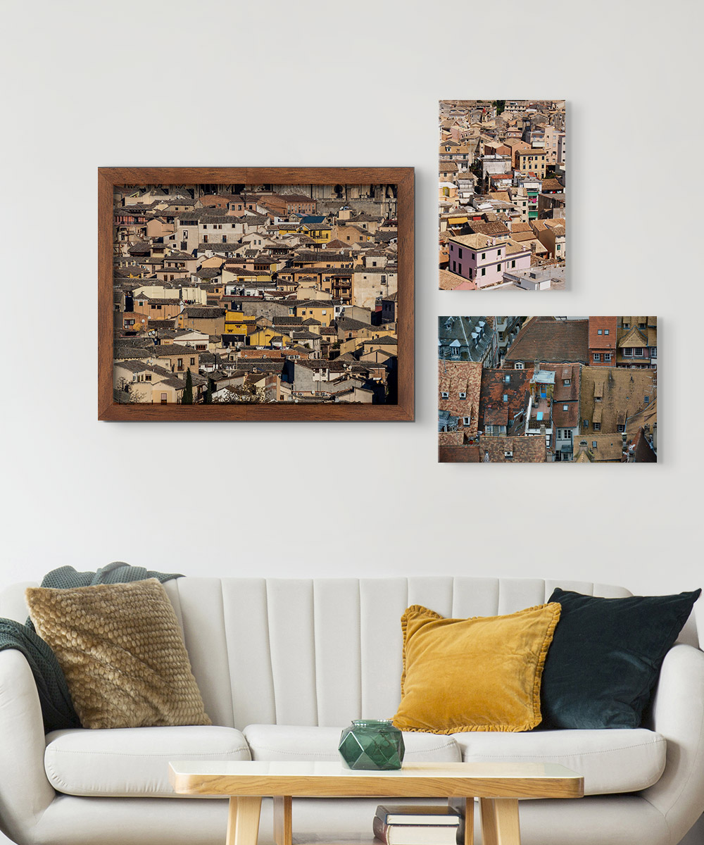 Canvas printing tips – photos of busy urban architecture framed and hanging on a all.