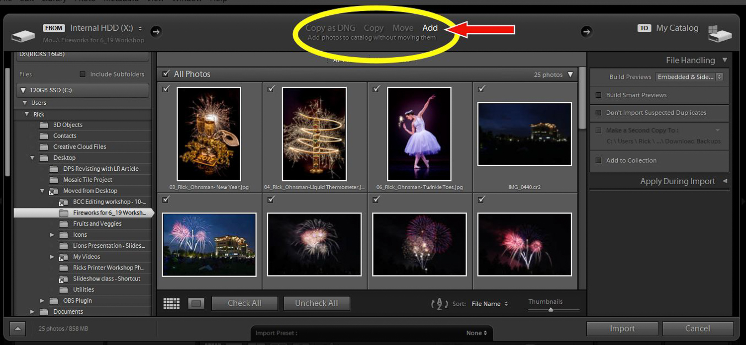 Using the Import Add method of bringing images into Lightroom
