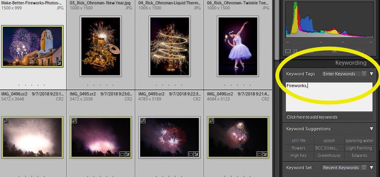 Keywording an entire folder of images in Lightroom