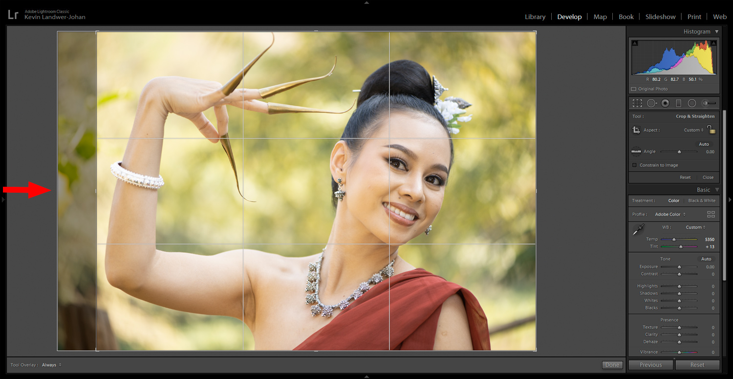 Crop image example for edit RAW portraits article