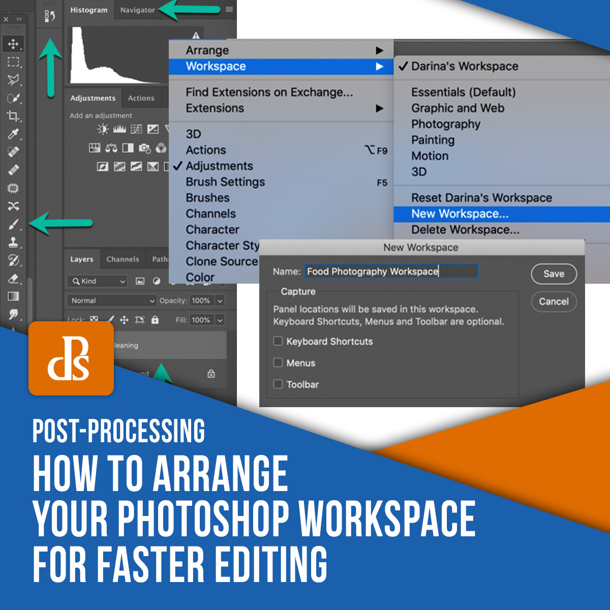 tips for aranging photoshop workspace