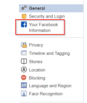 suas informações do facebook