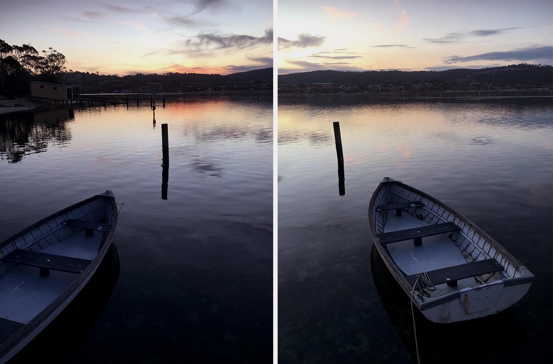 Barcos no lago Merimbula ao pôr do sol por Caz Nowaczyk