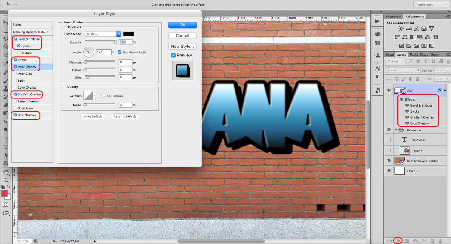 Layer styles give your text a graffiti effect