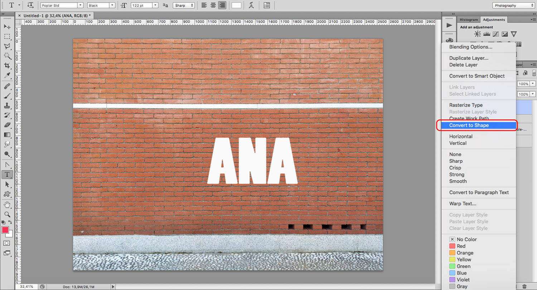 Shape text for a graffiti effect