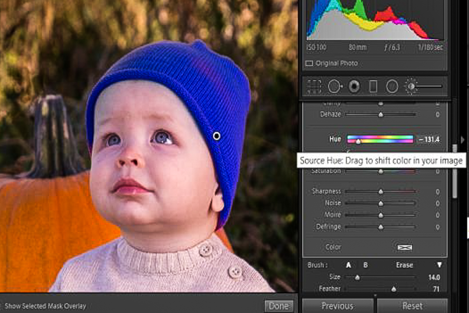 Changing colors with the Lightroom Hue Control