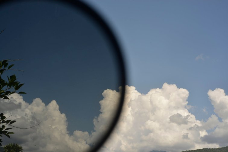 polarizing filters over a blue sky