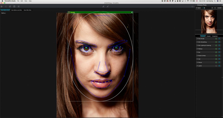 Showing how Portrait Pro defines facial features
