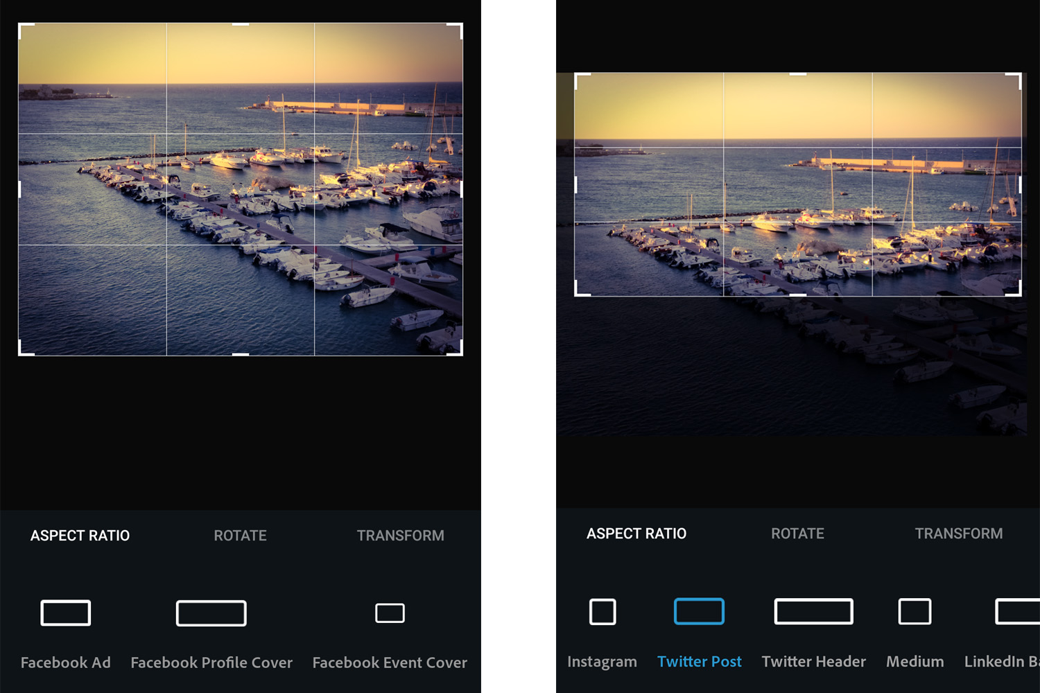 Photoshop Express Social Media Crop Sizes