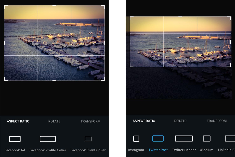 Photoshop Express Social Media Crop Sizes