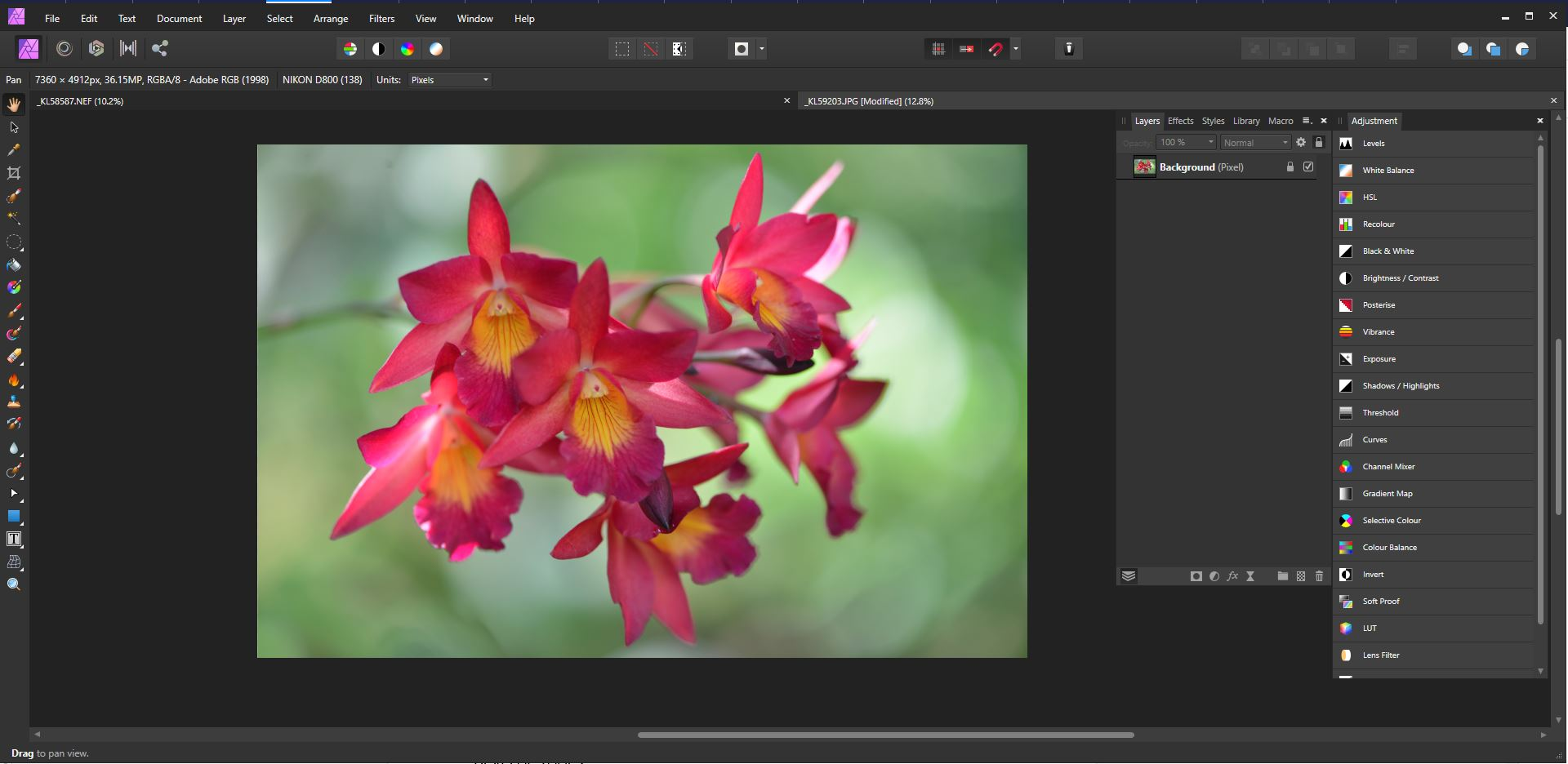 photo editing persona in Affinity Photo