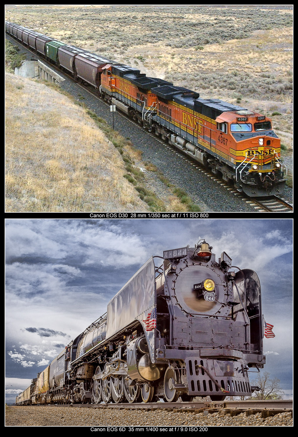 Compare how high and low angles change the way we view these trains.