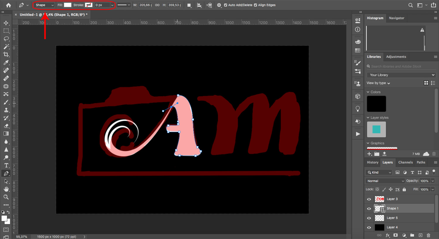 Create shapes using the Pen tool in Photoshop