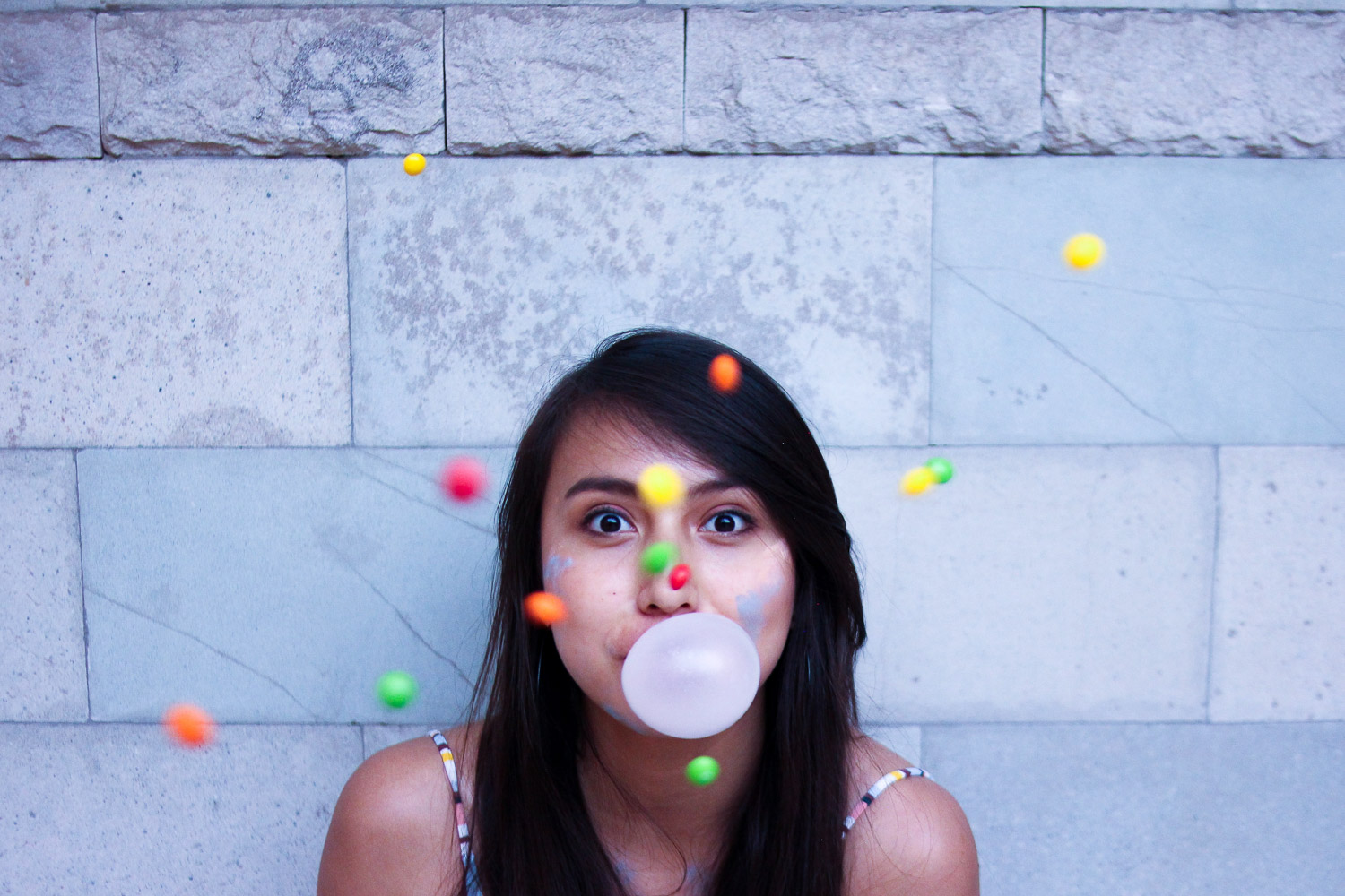 portrait with gum and candy as a prop