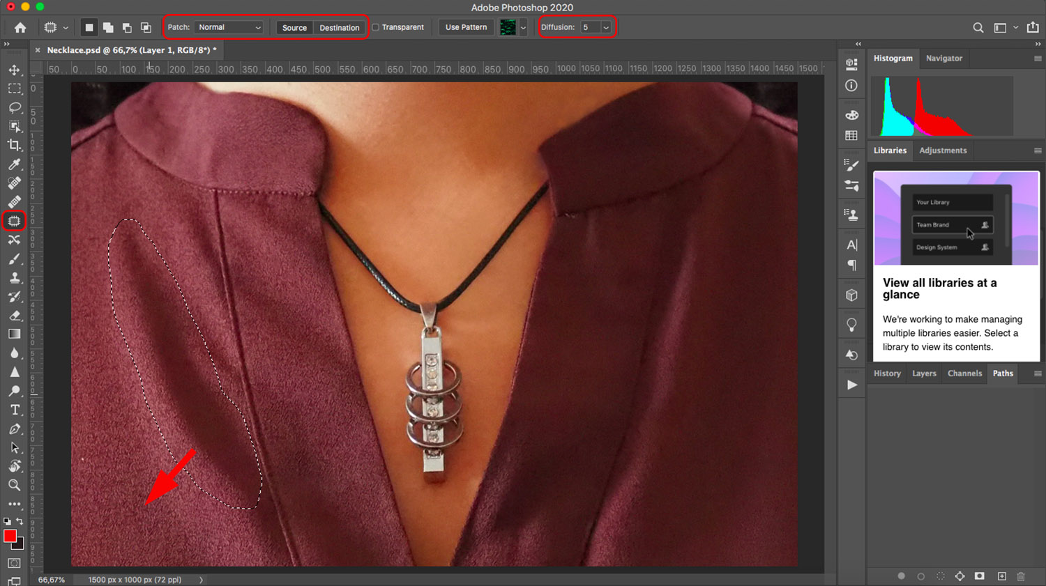 Using the Patch tool to remove wrinkles from clothes in Photoshop