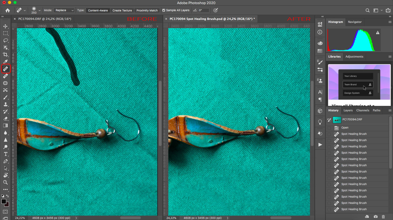 Using the spot healing brush to remove wrinkles from clothes in Photoshop