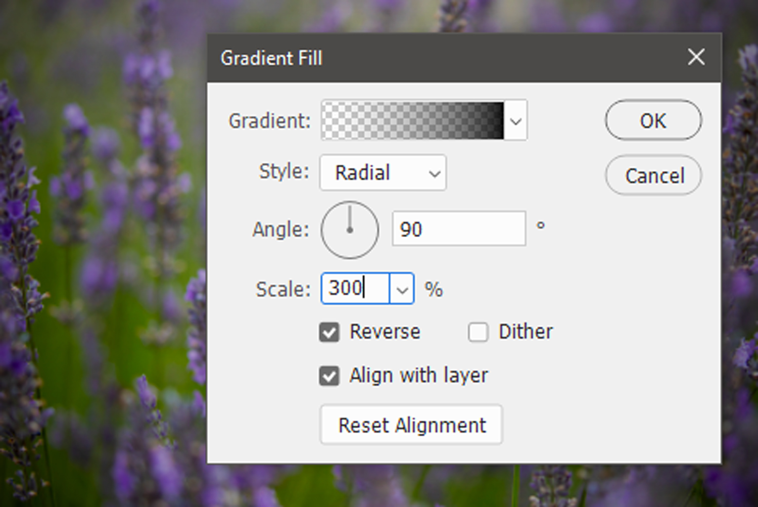 how to create a vignette with a Photoshop gradient