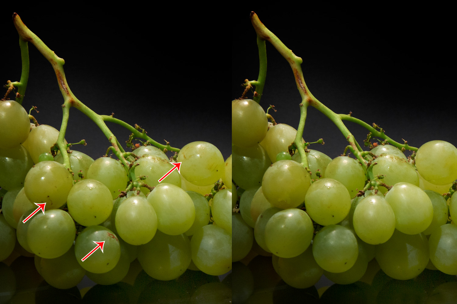 grapes with and without post-processing