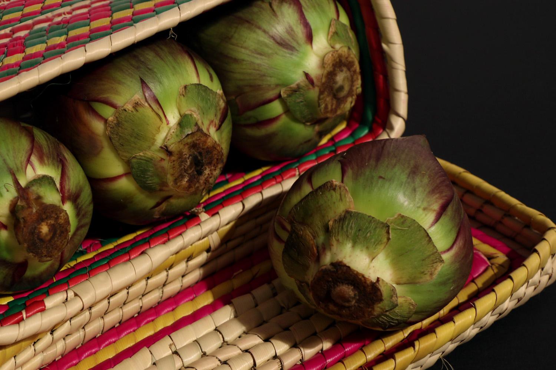 artichokes in a basket