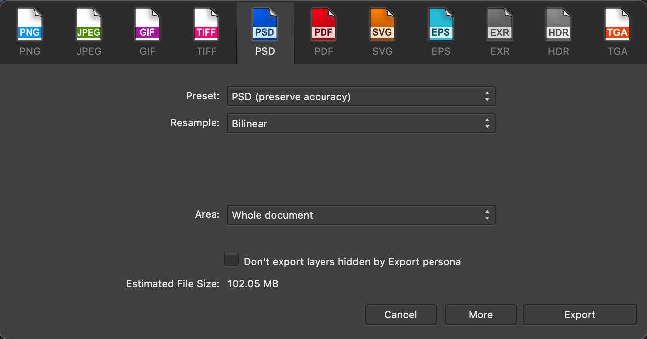 Affinity Photo vs Photoshop Export