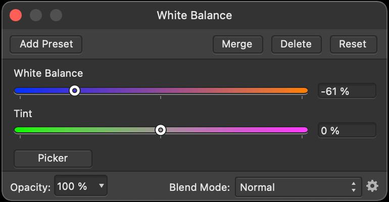 white balance in Affinity Photo