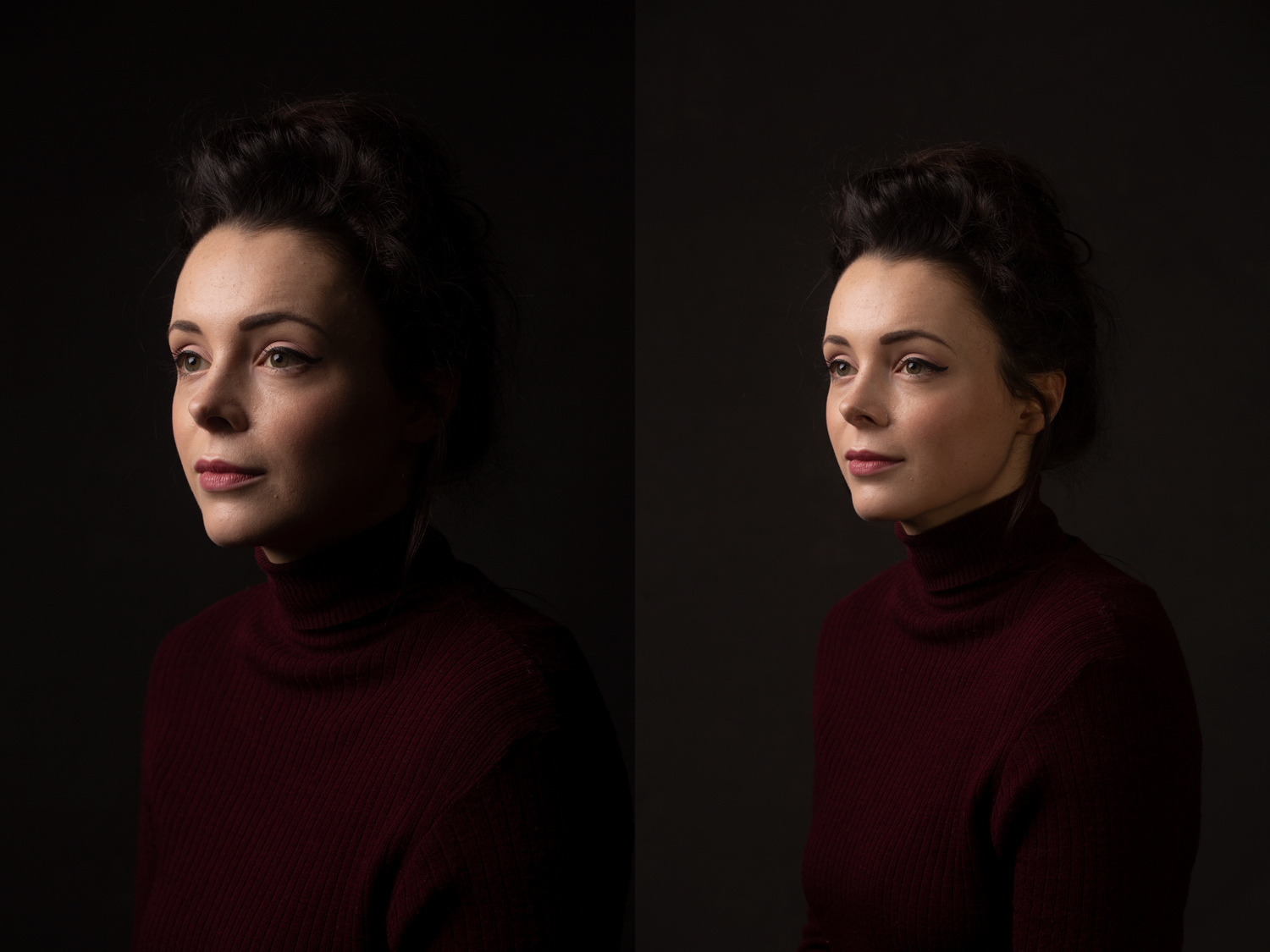 headshot with and without fill light