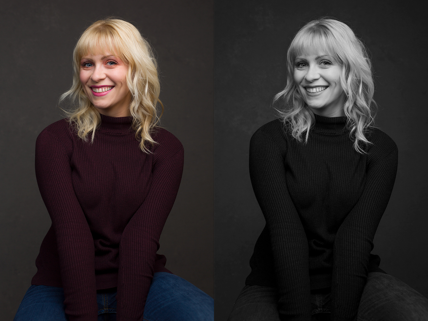 black and white vs color portrait comparison