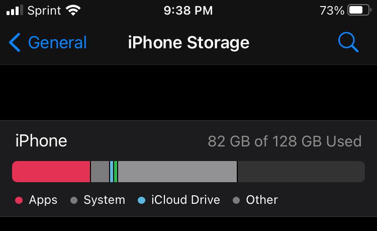 armazenamento do iPhone