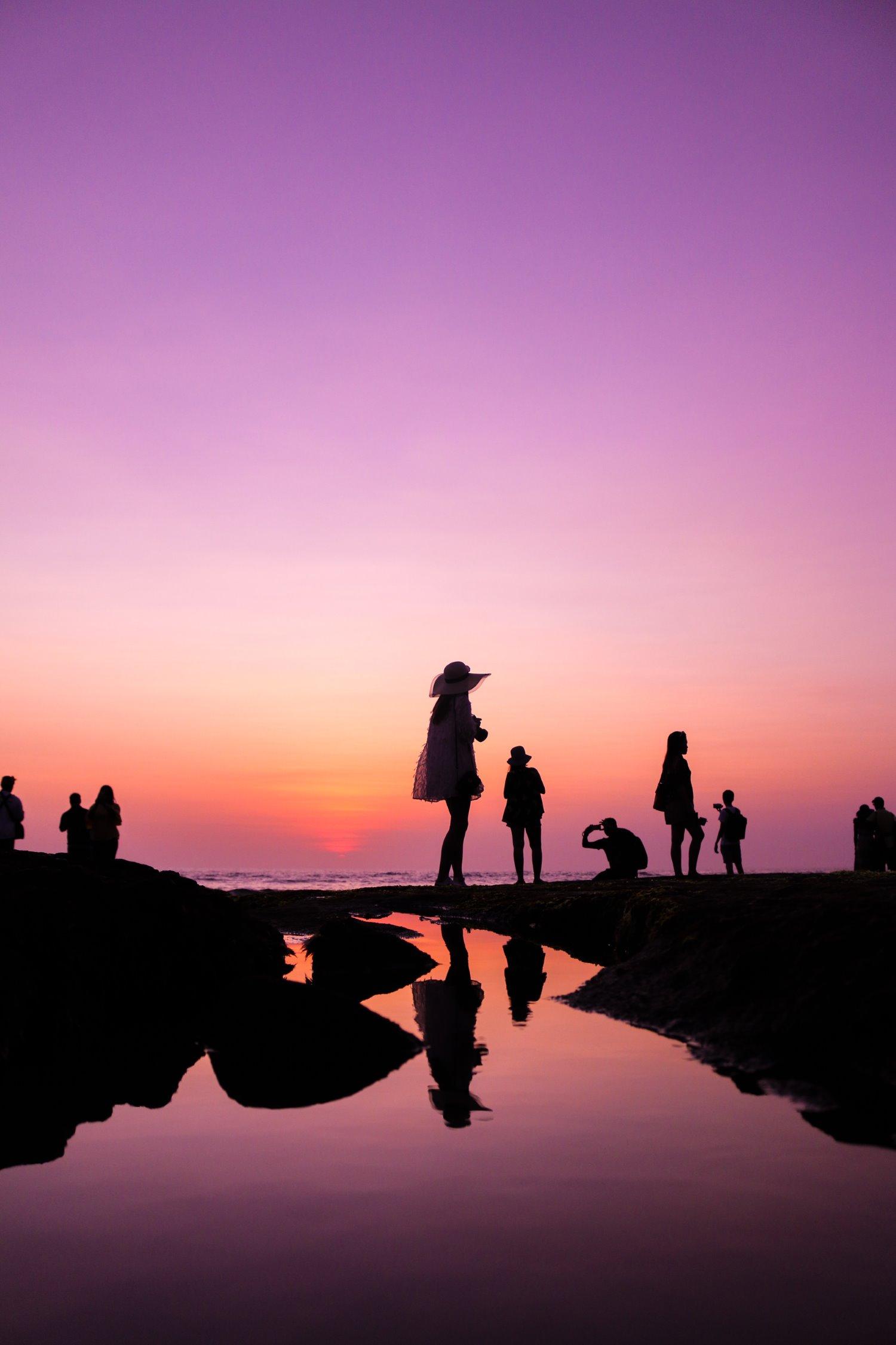 silhouettes on a beach
