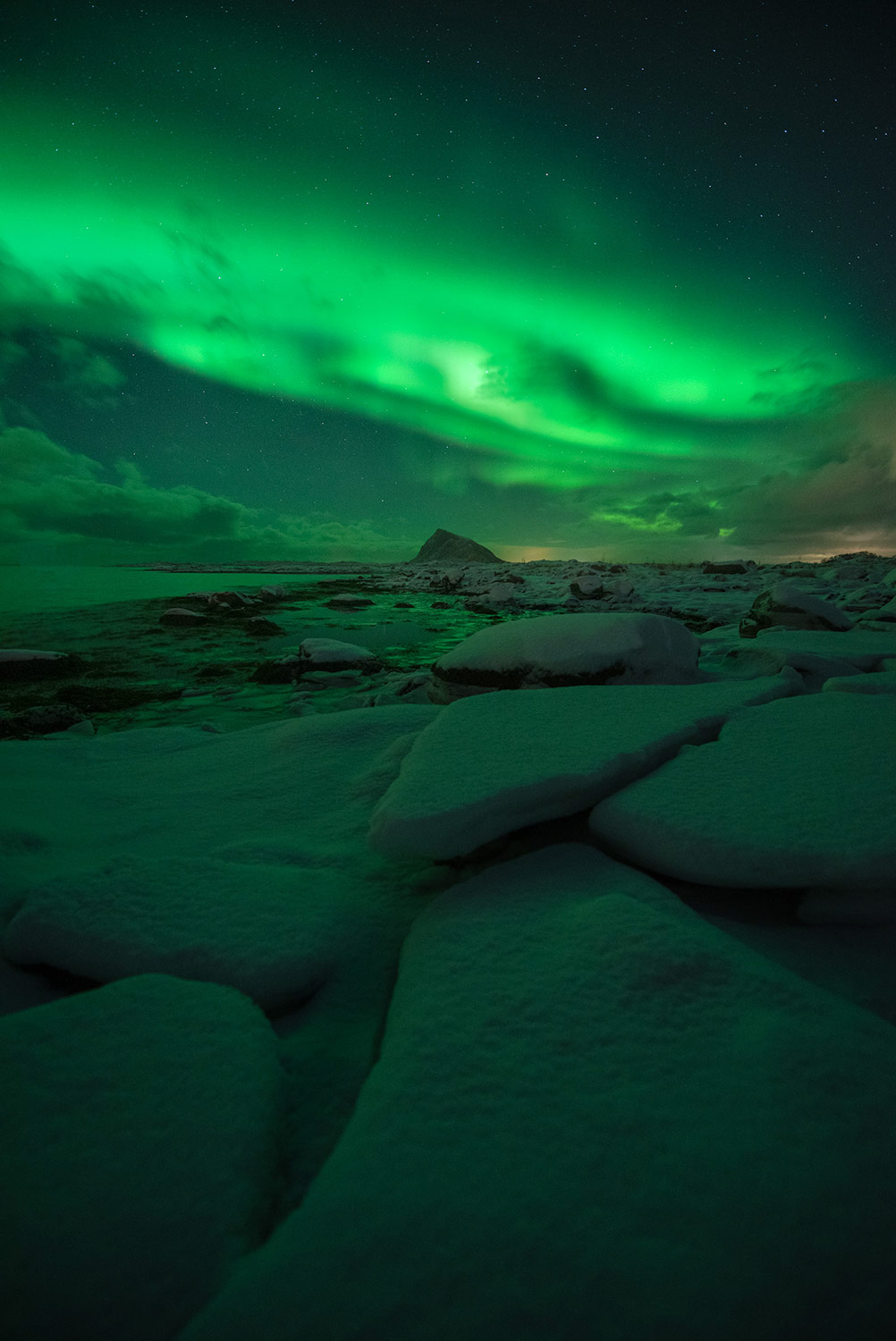 the northern lights over ice