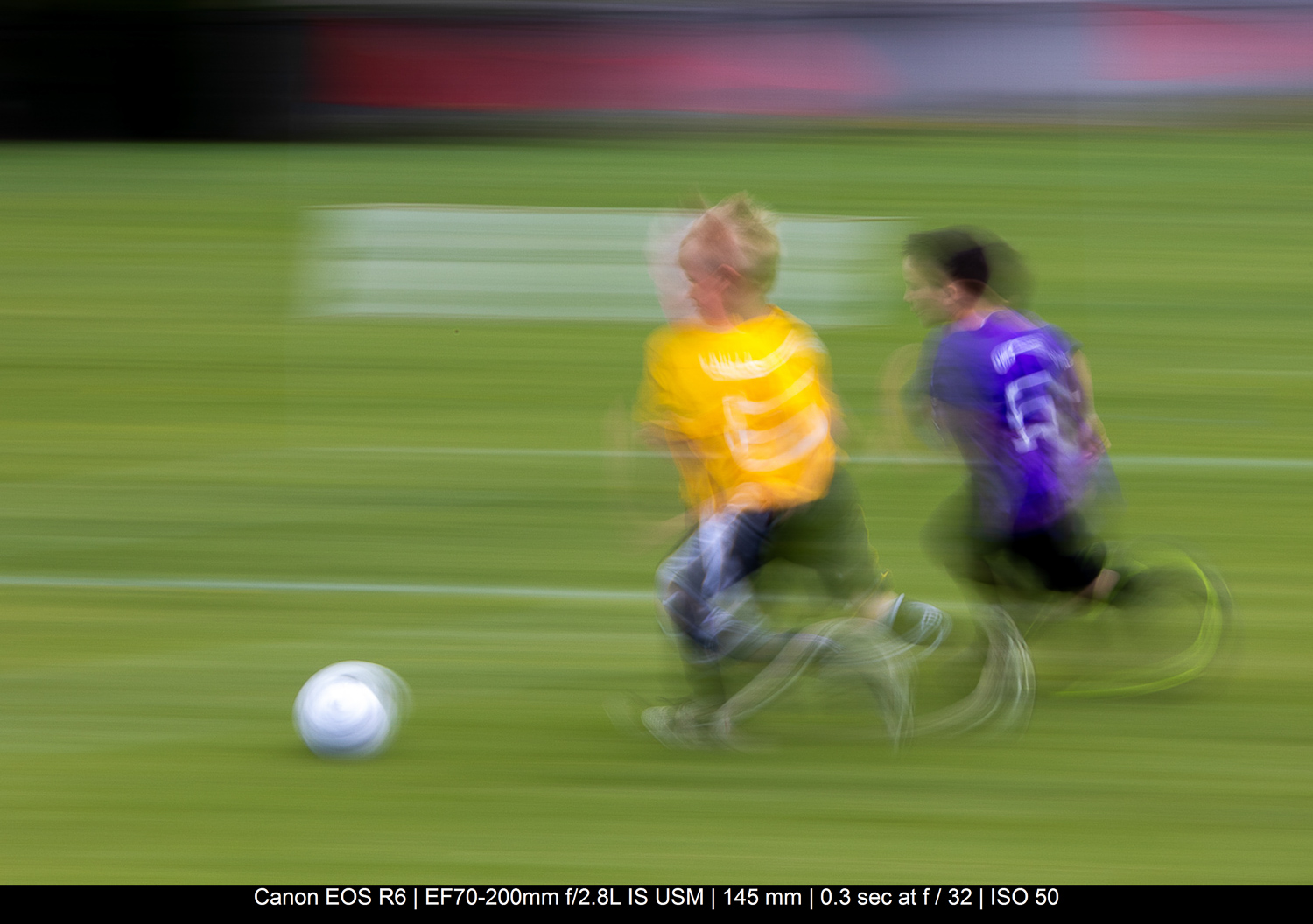 kids playing soccer with panning technique