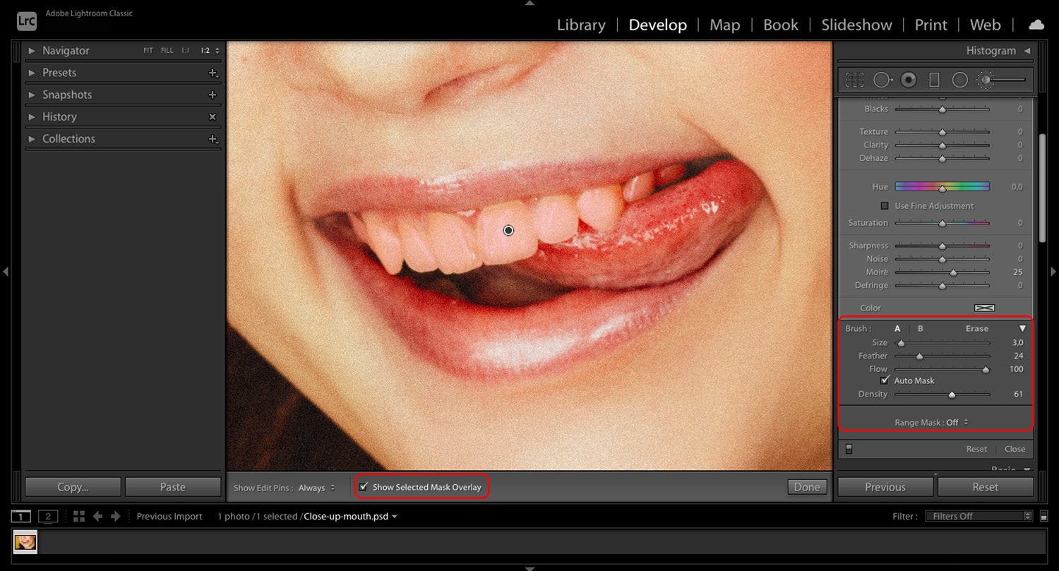 How to whiten teeth in Lightroom selection