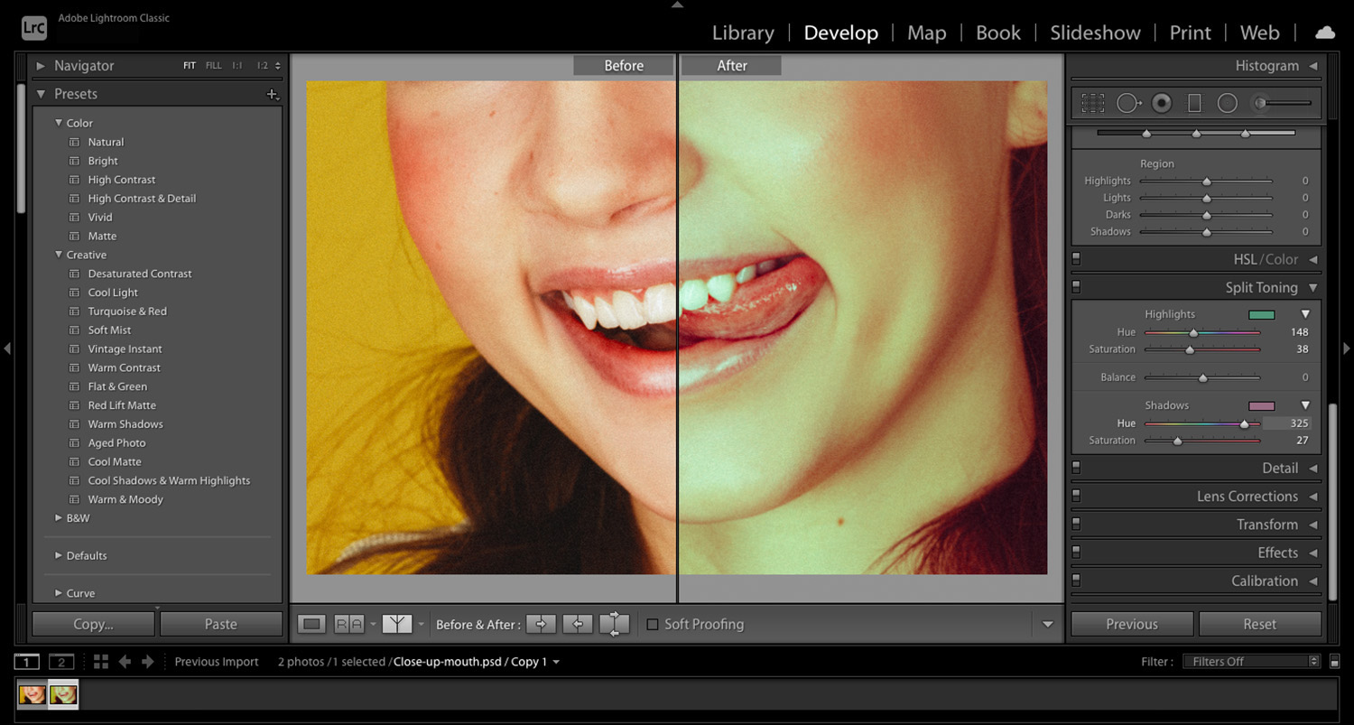 split tone applied to image of mouth