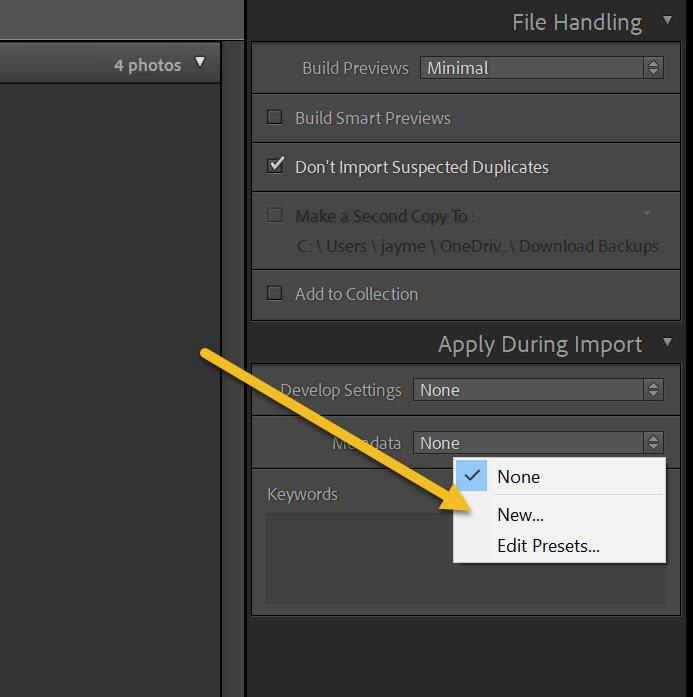 creating a metadata preset