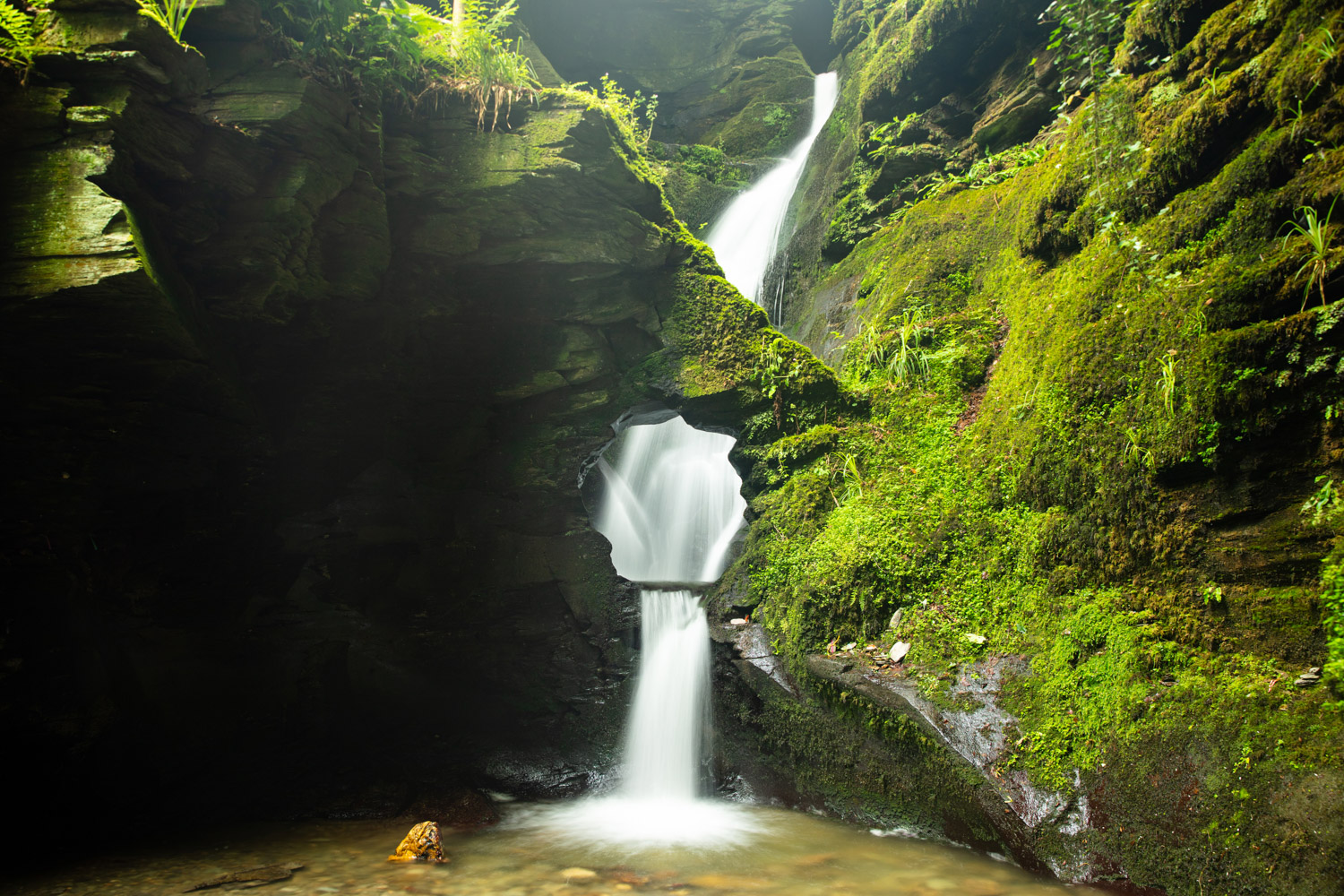 waterfall with green moss and foliage