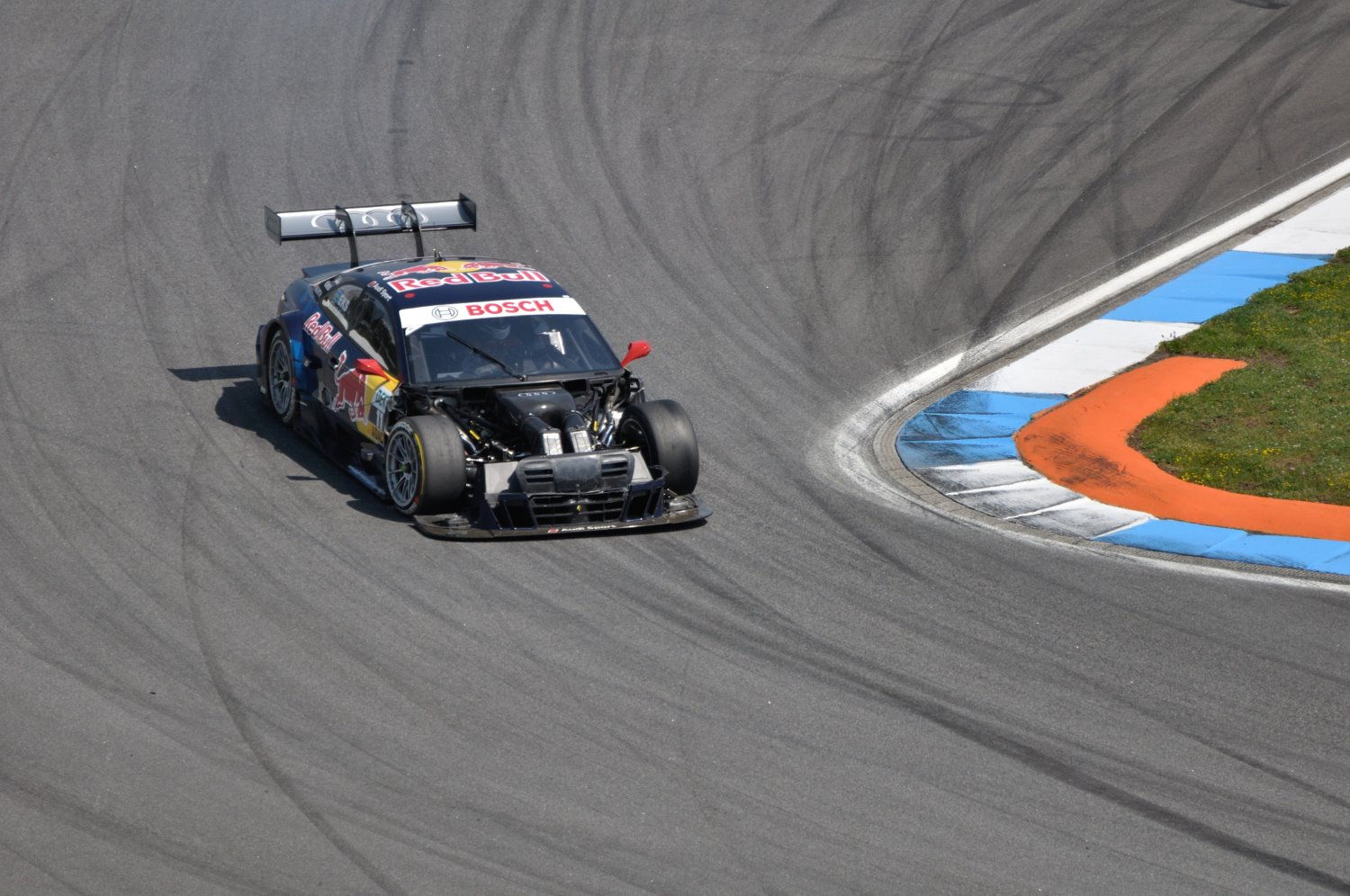 a fast-moving racecar