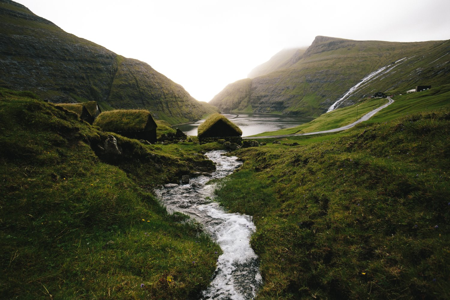 river flowing away as leading lines in a mountainous landscape