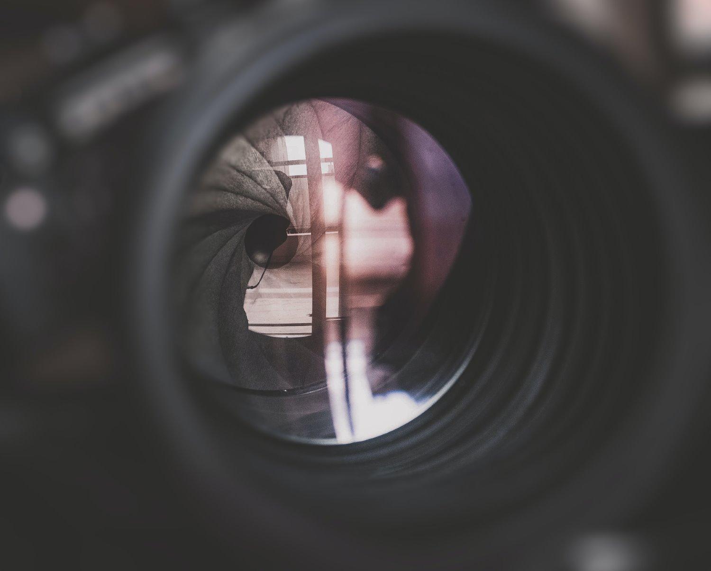 lâminas de abertura de lente