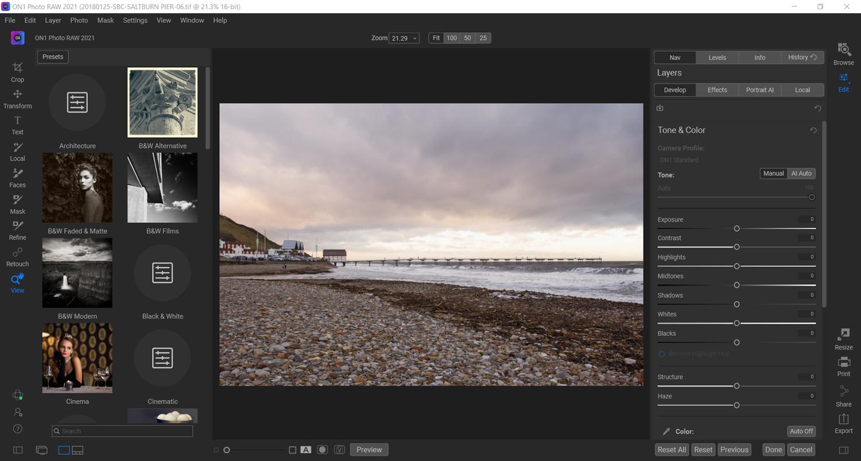 ON1 Photo RAW editing layout