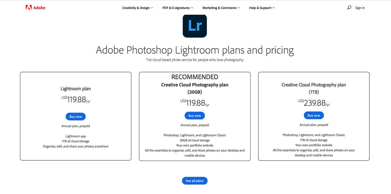 Lightroom pricing