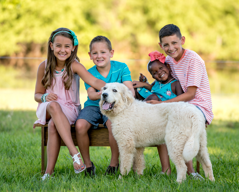 kids and a dog