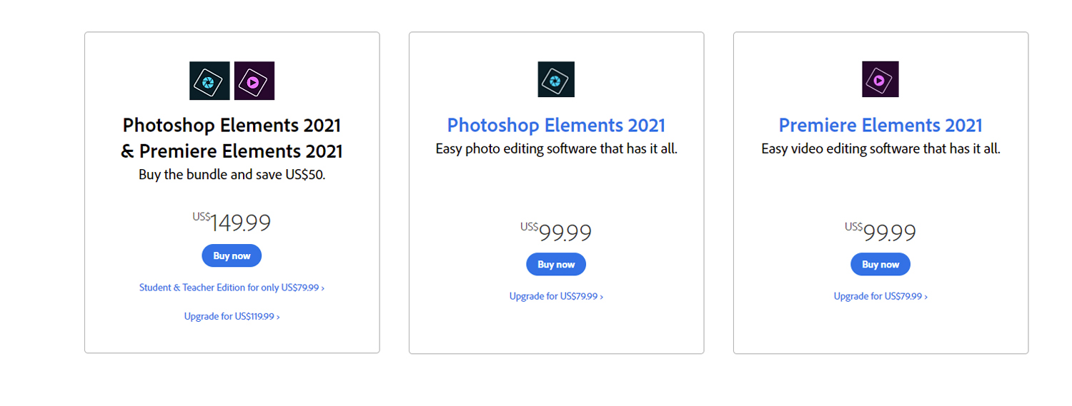 Photoshop Elements pricing