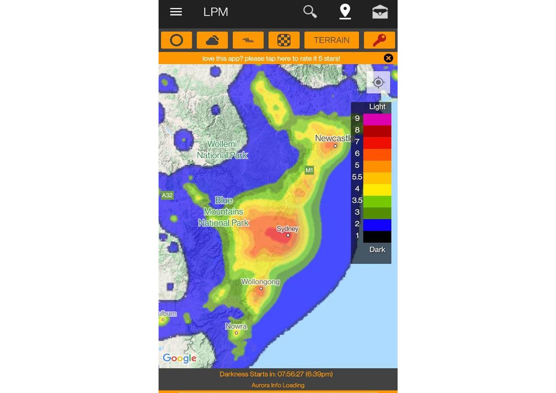 Light pollution indicator app screenshot